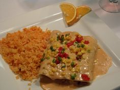 American cheese mashed potatoes enchiladas with a tri-colored salsa and rice.  #BlueAgave