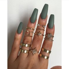 @victoriaoliviaxo's Matte Grace Green nails from #modelsownofficial #vegas_nay