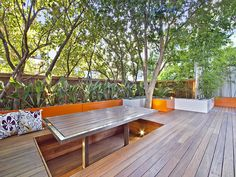 sunken seating with dining table. Rags to Riches Chiswick Roof Terrace Garden Design With Decking, Seating and Lighting Diy Pergola, Retractable Pergola, Pergola Shade, Pergola Kits, Pergola Plans, Pergola Ideas, Terrace Garden Design, Patio Design, Deck Seating