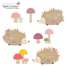 Hedgehog Digital Clip Art Clipart Set - Personal and Commercial Use