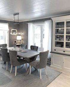 Table And Chairs, Dining Table, Scandinavian Style Home, Light Grey Walls, Interior Decorating, Interior Design, Dining Room Inspiration, Sectional Sofa, Home And Living