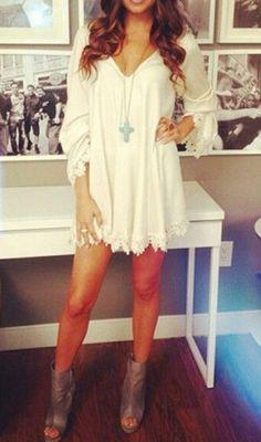 White Patchwork Lace V-neck Fashion Mini Dress