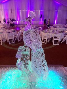 Peacock ice sculpture. #icesculptures