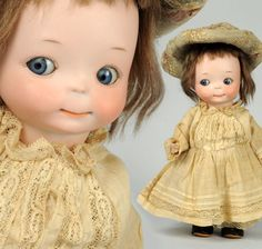"""At Auction: April 27th. Saucy A.M. 241 Googly Doll. German bisque socket head incised """"241 0"""" made by Armand Marseille. Can't help but smile at her! #Googly #Dolls #MorphyAuctions"""