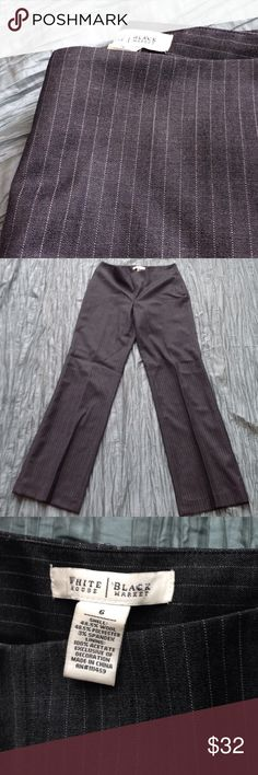 White House Black Market trousers Dark grey pin stripe. side zip. Fully lined wool blend. White House Black Market Pants Trousers