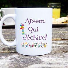 Mug original et personnalisable atsem qui déchire, cadeau atsem, école maternelle, tasse céramique