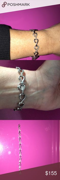 Gorgeous sterling silver eternity tennis bracelet Beautiful diamond bracelet never worn see pics with great safety clasp Jewelry Bracelets
