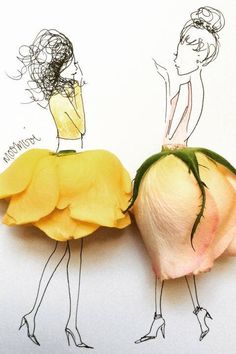 Drawing of girls wearing skirts made from yellow roses art