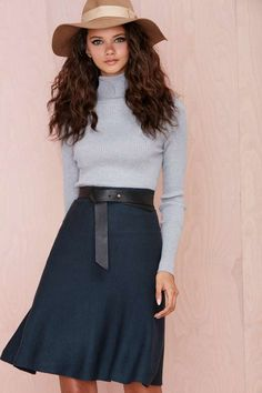 Nastygal has some really great stuff right now. Hunter green midi skirt for fall.