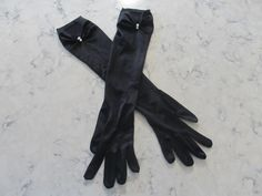 "VINTAGE Antique 1930's  Era 18"" Black Elbow Length Opera Gloves with Snaps-- Size 5 to 5 1/2--Glove Auction # 1251 by PrimaMona on Etsy"