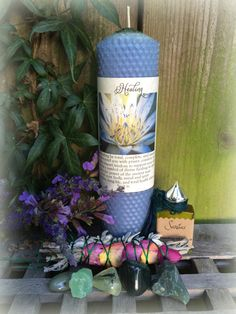 TOTAL HEALING Toolkit  Blue Lotus Healing candle with healing oil and gems by TheSageGoddess, $70.00