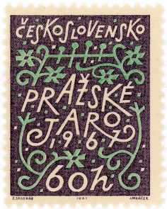 vintage postage stamps, Czechoslovakia postage stamp: Prague Music...