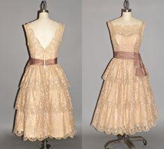 50s Dress, 1950s Prom Dress, Vintage 1950s Ecru Lace Party Dress, Will Steinman Original XS by daisyandstella on Etsy https://www.etsy.com/listing/241470087/50s-dress-1950s-prom-dress-vintage-1950s