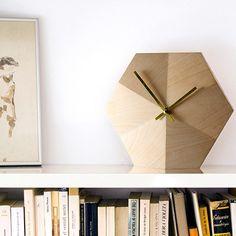 """Do not Disturb"" Clock (Uhr)  polygonal geometric design, wood. by Ernest Perera for Amor de Madre"