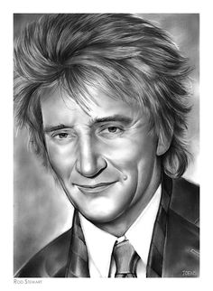 Rod Stewart pencil sketch by www.gregjoens.com