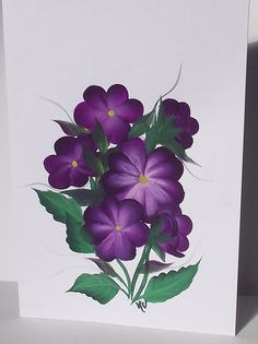 Easter Greeting Card Purple Flower by KarenUnderwoodArt on Etsy, £3.50