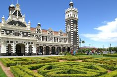 Railway Station on Anzac Square in Dunedin, South Island, New Zealand