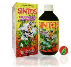 SINTOS® Jarabe con Fenogreco. Presentación: frasco con 240 ml.   SINTOS® Honey bee syrup with fenugreek. Contains: 240 ml.