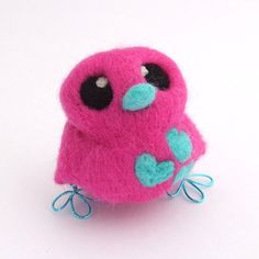 Needle Felted Bird Hot Pink and Aqua Bird with Hearts