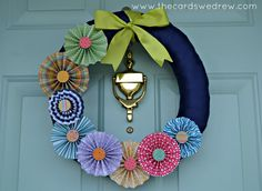 Spring Pinwheel Wreath - The Cards We Drew Washi Tape Crafts, Easter Wreaths, Spring Crafts, Diy Spring Wreath, Wreath Crafts, Diy Wreath, Diy Crafts, Wreath Ideas, Wreaths For Front Door