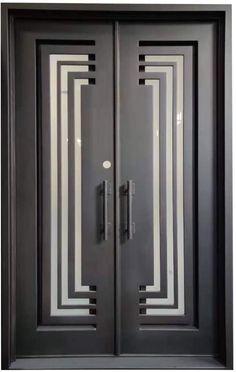 Home Door Design, Grill Door Design, Wooden Main Door Design, Double Door Design, Double Front Entry Doors, Entry Doors With Glass, Modern Exterior Doors, House With Porch, Iron Doors