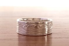 Items similar to Wood grain nature wedding ring band - sterling silver on Etsy