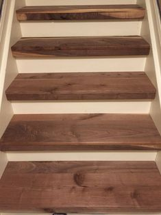 Walnut stair treads - basement stair remodel