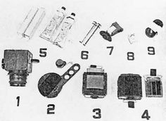 MA-8 ditty bag contents: 1. Camera (see text), 2. Photometer, 3. Color film magazine, 4. Film magazine, 5. Food containers, 6. Dosimeter, 7. Motion sickness container, 8. Exposure meter, 9. Camera shoulder strap.