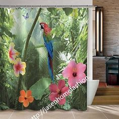Joybuy Forest Oil Painting Shower Curtain Woodland Bathroom Parrot Shower Curtain By Collections Parrot Shower Curtain 72x72-inch Shower Curtain Polyester Fabric Material