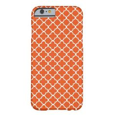 Tangerine Orange Quatrefoil Pattern Barely There iPhone 6 Case