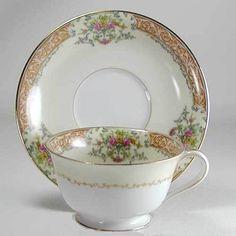 Noritake Occupied Japan Cup & Saucer Set - Rose China With Gold Trim - Vintage