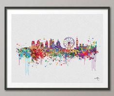 London Skyline England illustrations Art Print Wall by CocoMilla, $15.00