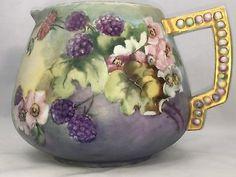 "Antique Large Unstamped Rare Limoges Hand Painted Lemonade Pitcher . 6 1/2"""