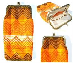 Vintage 1970s Retro Orange Kiss Clasp Pouch - Cigarette case - Coin purse - Glasses pouch - Cloth fabric