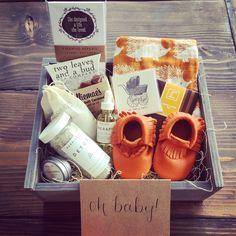 Orange Baby Box #giftbox #gifts #babygifts #moccasins #giftideas #giftboxes #handmade #smallbatch #happybaby #happymama