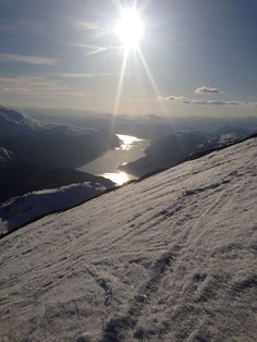 Sunset over the fjord by Loen, Norway. Ski touring to mt. Skåla (1843 m) April 2014
