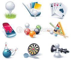 Vector conjunto de ícones de estilo dos desenhos animados. parte 35. esporte