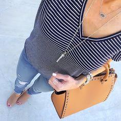 Stripe V-Neck tee + Express distressed jeans + Stella & Dot Rebel pendant + Kendra Scott Elisa + Tan Satchel + nude peep toe booties [Instagram: @ontheDailyX]