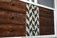 Herringbone-Pattern-Furniture-Stencil-on-Dresser