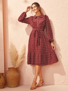 To find out about the Heart Print Ruffle Trim Belted Dress at SHEIN, part of our latest Dresses ready to shop online today! Belted Dress, Dress P, Dress Outfits, Fashion Dresses, Collar Pattern, Heart Print, Latest Dress, Lingerie Sleepwear, Ruffle Trim