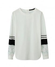 Lace Splice Loose Fit White Sweatshirt