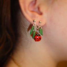Double piercing ladybug earrings by KoreenasCreations on Etsy