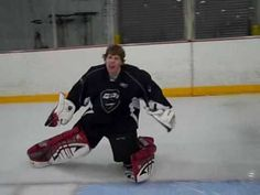 """Colin Catherman from Richmond, VA demonstrates """"the Knee Slide/Lift"""" (Lateral slidedes with kee lifts) along the Goalie Line Hockey Drills, Hockey Goalie, Ice Hockey, Hockey Coach, Hockey Mom, Hockey Stuff, Goalie Mask, Goalkeeper, Motorcycle Jacket"""