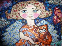 "Купить Наволочки ""Ангел и кошка"" и "" Звездочка моя"" - ангел, подушка, подушка декоративная, кошка"