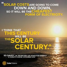 The UK's energy and climate minister Edward Davey and 2.5 million Australians already recognise the massive potential of solar.  LIKE & SHARE if you think this century will be the solar century.  (Photo via Haleyface, Flickr)