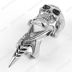 1PC Fashion Crystal Skull Demon Spike Armour Punk Double Finger Ring Men Gothic