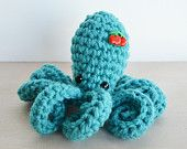 Amigurumi Octopus - Crocheted in Turquoise with Cherry Button