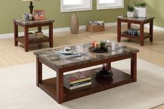 Impressive Deal Cannady 3 Piece Wooden Coffee Table Set With Faux Marble Top By Fleur De Lis Living Coffee Table Design, Coffee Table End Table Set, Coffee Table With Stools, Coffee Table Pictures, Pc Table, Coffee Table With Drawers, Coffee Table Rectangle, Coffee Tables, Table Bases