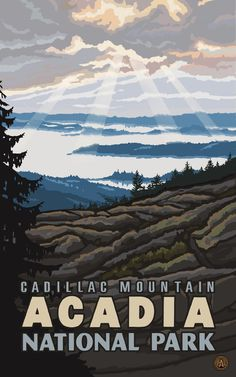 Amazon.com - Northwest Art Mall Acadia National Park Cadillac Mountain Wall Art by Paul A Lanquist, 11 by 17-Inch