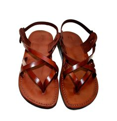 Brown Mix Leather Sandals by SANDALI on Etsy